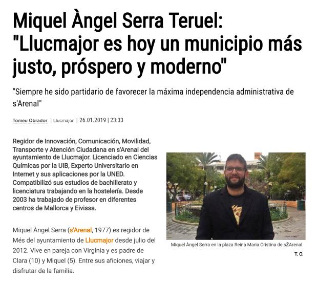 Entrevista Miquel Serra 26_01_2019 Diario de Mallorca