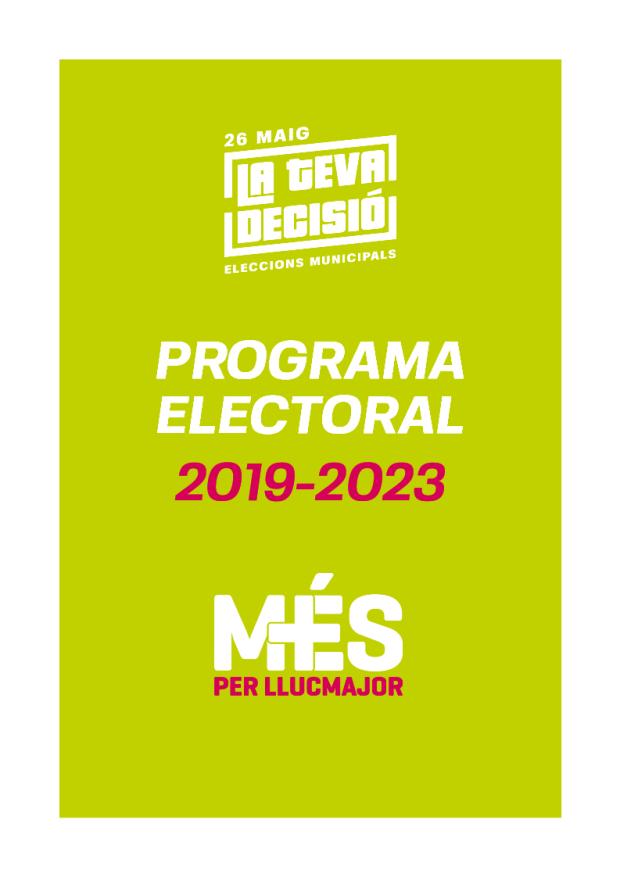Programa de MÉS per Llucmajor eleccions municipals 2019