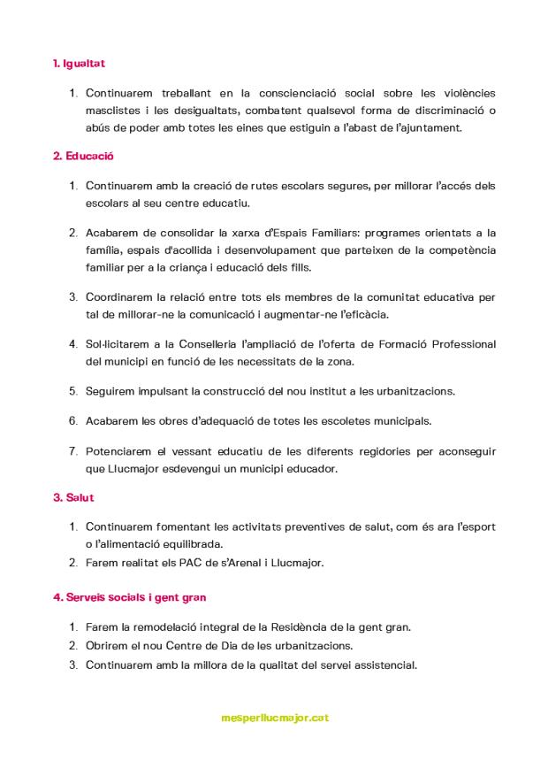 Programa de MÉS per Llucmajor eleccions municipals 2019_2